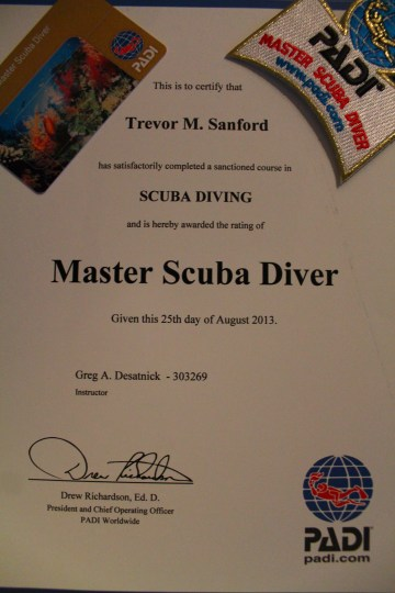 PADI Master Scuba Diver Certificate